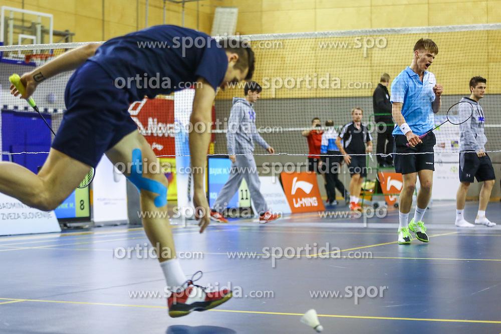 Martin Cerkovnik (BK Medvode) during 58th Slovenian national championship in badminton on Februar 1, 2015 in Zg. Kungota, Slovenia. (Photo By Grega Valancic / Sportida)
