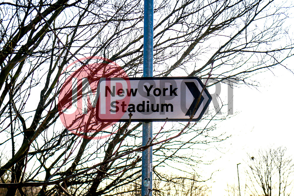 An Aesseal New York Stadium street sign, home to Rotherham United - Mandatory by-line: Ryan Crockett/JMP - 18/01/2020 - FOOTBALL - Aesseal New York Stadium - Rotherham, England - Rotherham United v Bristol Rovers - Sky Bet League One