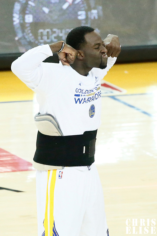 04 June 2017: Golden State Warriors forward Draymond Green (23) celebrates during the Golden State Warriors 132-113 victory over the Cleveland Cavaliers, in game 2 of the 2017 NBA Finals, at the Oracle Arena, Oakland, California, USA.