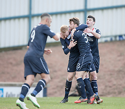 Falkirk' players cele  after Raith Rovers Dougie Hill scores an own goal for Falkirk's first goal.<br /> Raith Rovers 2 v 4 Falkirk, Scottish Championship game today at Starks Park.<br /> &copy; Michael Schofield.