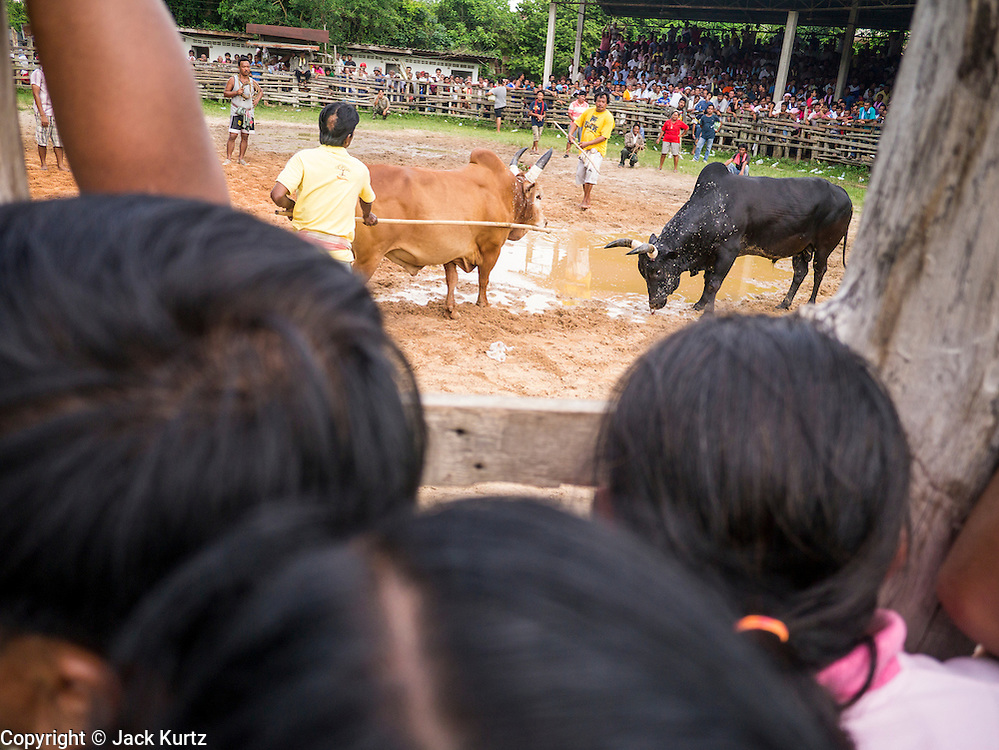 03 NOVEMBER 2012 - HAT YAI, SONGKHLA, THAILAND:    Spectators watch the end of a bullfight at the bullfighting arena in Hat Yai, Songkhla, Thailand. Bullfighting is a popular past time in southern Thailand. Hat Yai is the center of Thailand's bullfighting culture. In Thai bullfights, two bulls are placed in an arena and they fight, usually by head butting each other until one runs away or time is called. Huge amounts of mony are wagered on Thai bullfights - sometimes as much as 2,000,000 Thai Baht ($65,000 US).    PHOTO BY JACK KURTZ