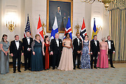 President Obama and first lady Michelle with the Nordic leaders and their spouses at the White House State Dinner.<br /> White House State Dinner the President and Mrs. Obama host the President of Finland Sauli Niinisto, the Prime Minister of Sweden, Stefan Lofen, the Prime Minister of Norway, Erna Holberg, the Prime Minister of Denmark Lars Lokke Rasmussen and the Prime Minister of Iceland, Sigurdur Ingi Johannsson,