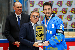 Rene Fasel (IIHF) and Brandon Bochenski of Kazakhstan at ceremony after ice hockey match between Kazakhstan and Hungary at IIHF World Championship DIV. I Group A Kazakhstan 2019, on May 5, 2019 in Barys Arena, Nur-Sultan, Kazakhstan. Photo by Matic Klansek Velej / Sportida