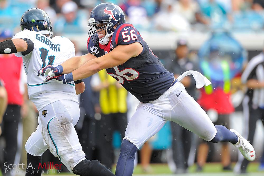 Houston Texans inside linebacker Brian Cushing (56) pressures Jacksonville Jaguars quarterback Blaine Gabbert (11) during their NFL game at EverBank Field on September 16, 2012 in Jacksonville, Florida. The Texans won 27-7...©2012 Scott A. Miller.