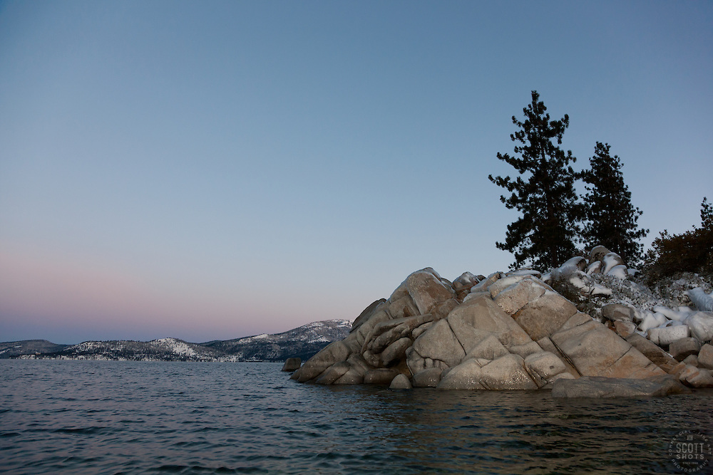 """Tahoe Boulders at Sunrise 18"" - These boulders were photographed in the early morning at Sand Harbor, Lake Tahoe. Photographed from a kayak."