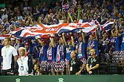 Great Britain fans wave a huge Union Jack flag during the Davis Cup Semi Final between Great Britain and Argentina at the Emirates Arena, Glasgow, United Kingdom on 16 September 2016. Photo by Craig Doyle.