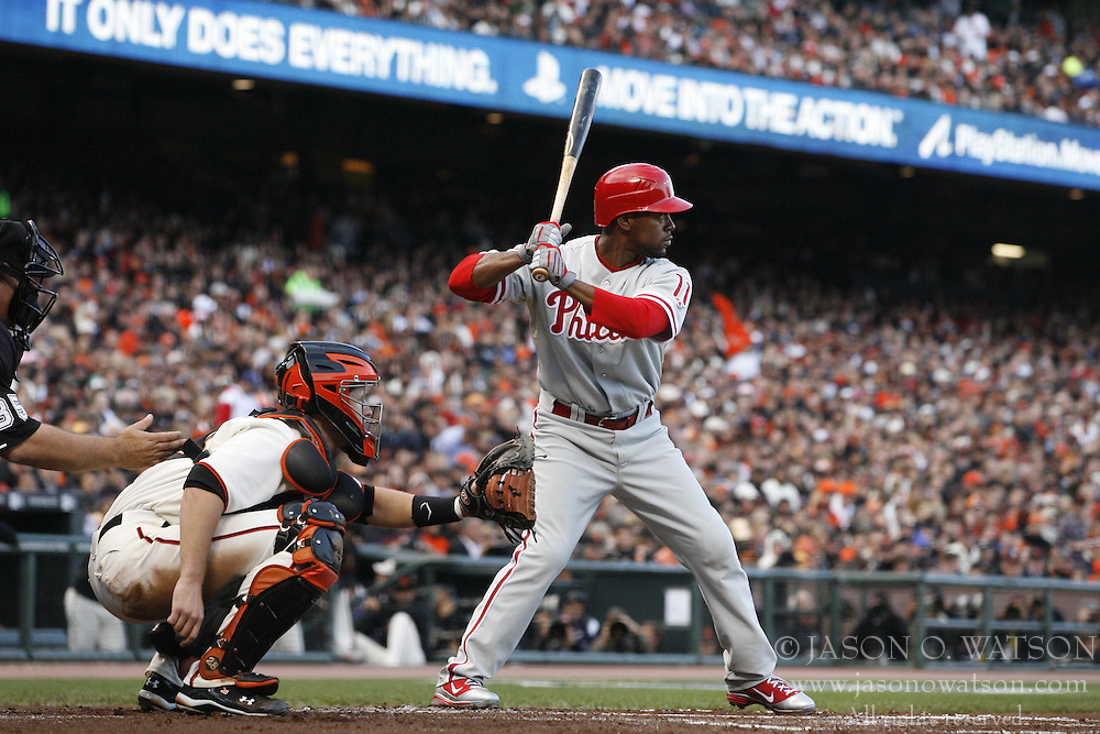 October 20, 2010; San Francisco, CA, USA; Philadelphia Phillies shortstop Jimmy Rollins (11) at bat against the San Francisco Giants during the first inning in game four of the 2010 NLCS at AT&T Park. The Giants defeated the Phillies 6-5.