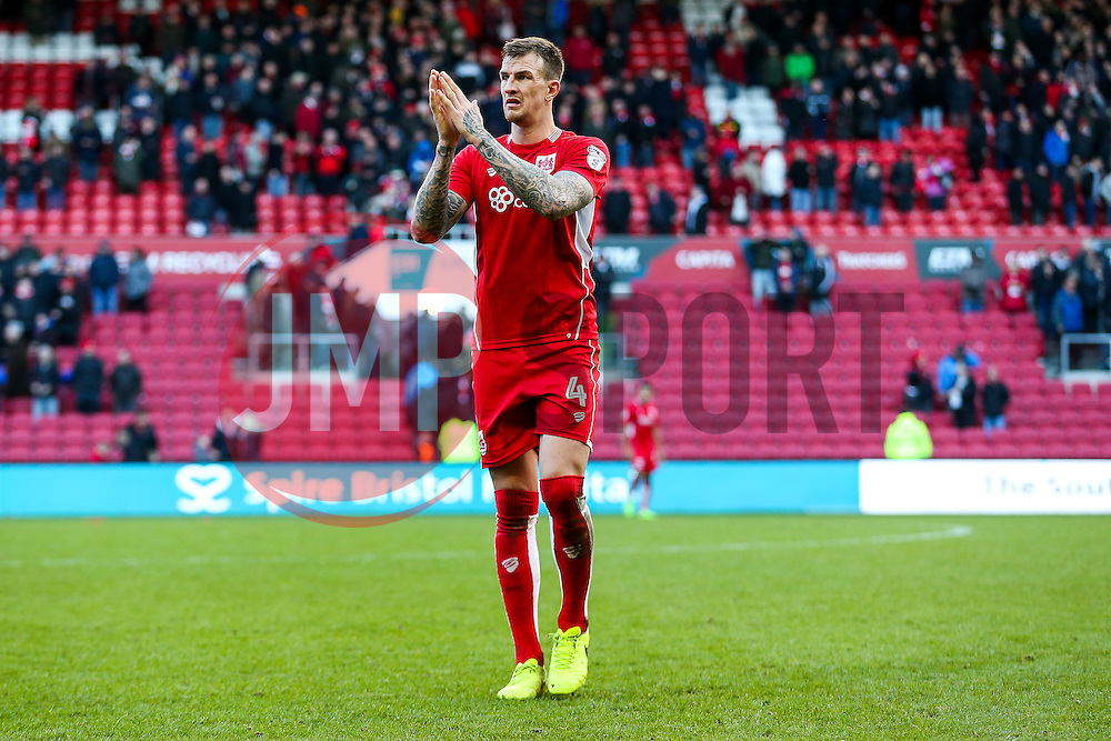 Aden Flint looks dejected after Bristol City draw 0-0 which with other results in the Championship moves them into the relegation zome for the first time this season - Rogan Thomson/JMP - 04/03/2017 - FOOTBALL - Ashton Gate - Bristol, England - Bristol City v Burton Albion - Sky Bet EFL Championship.