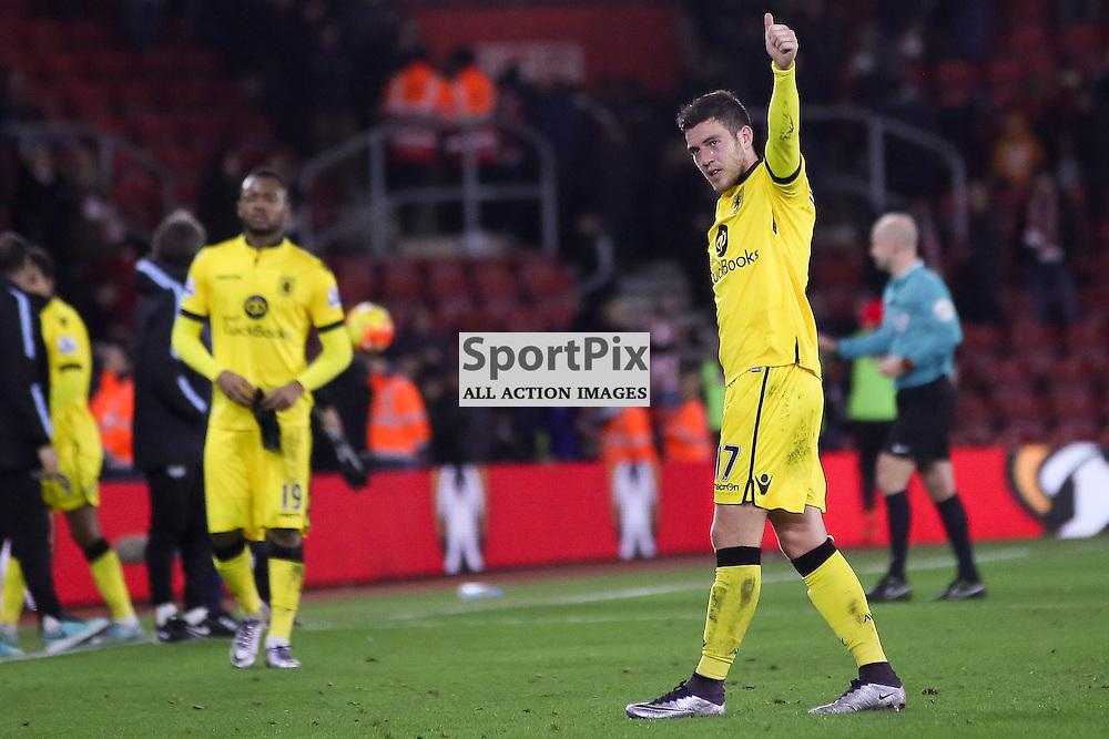 Jordan Veretout  salutes the Aston Villa Fans During Southampton vs Aston Villa on Saturday the 5th December 2015.