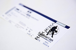 Provisional ticket during press conference of Basketball Federation of Slovenia - KZS when signing a contract with Tourist agency Kompas for selling Eurobasket 2015 tickets, on March 2, 2015 in Ljubljana, Slovenia. Photo by Vid Ponikvar / Sportida