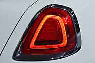 Manhattan, New York, USA. April 12, 2017.  Tail light closeup of white 2017 Rolls-Royce Dawn convertible, which is on display at the New York International Auto Show, NYIAS, during the first Press Day at the Javits Center.