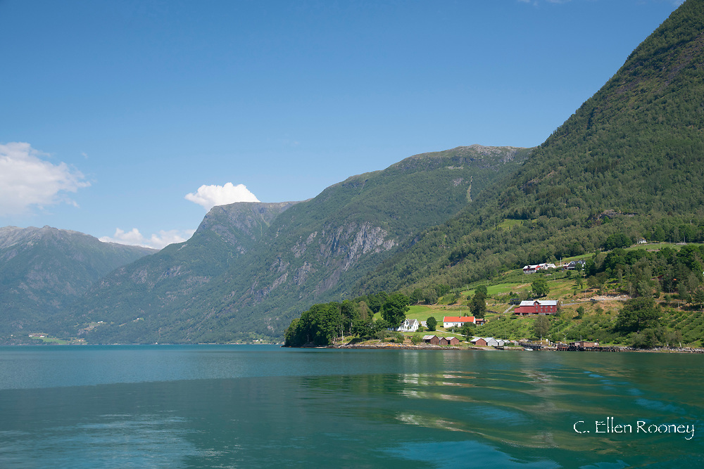 The view toward Urnes from a ferry on Sogne Fjord, Vestlandet, Norway, Scandanavia, Europe