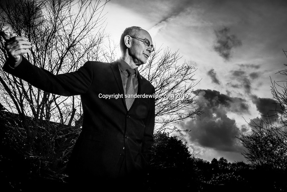 Belgium, Saint Genesius Rode, 26 February 2016. outside Portraits of Herman Van Rompuy, former president of the European Council, at his private home for an interview with Christoph Schmidt of Trouw NL.