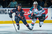 KELOWNA, CANADA - MARCH 24: Luke Zazula #7 of the Kamloops Blazers skates alongside Dillon Dube #19 of the Kelowna Rockets on March 24, 2017 at Prospera Place in Kelowna, British Columbia, Canada.  (Photo by Marissa Baecker/Shoot the Breeze)  *** Local Caption ***
