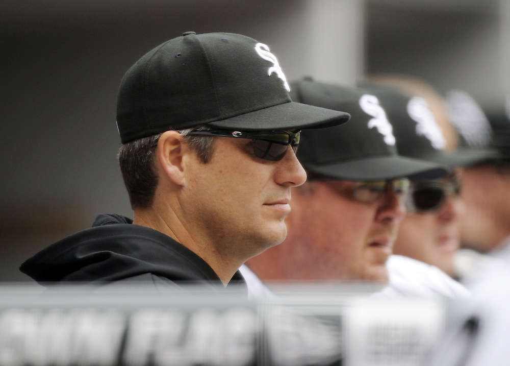 CHICAGO - APRIL 13:  Robin Ventura #23 of the Chicago White Sox look on against the Detroit Tigers on Opening Day, April 13, 2011 at U.S. Cellular Field in Chicago, Illinois.  The White Sox defeated the Tigers 5-2.  (Photo by Ron Vesely)   Subject:  Robin Ventura