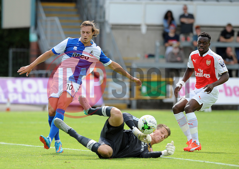 Arsenal's Matt Macey saves from Billy Bodin of Bristol Rovers - Photo mandatory by-line: Neil Brookman/JMP - Mobile: 07966 386802 - 18/07/2015 - SPORT - Football - Bristol - Memorial Stadium - Pre-Season Friendly