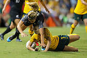 Rosie White and Steph Catley collide during the Cup of Nations Women's Football match, New Zealand Football Ferns v Matildas, Leichhardt Oval, Thursday 28th Feb 2019. Copyright Photo: David Neilson / www.photosport.nz
