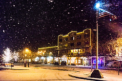"""Downtown Truckee 58"" - Photograph of Historic Downtown Truckee shot at night during a snowstorm."