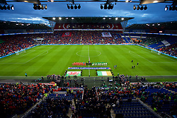 CARDIFF, WALES - Thursday, September 6, 2018: Wales and Republic of Ireland players line-up for the national anthems before of the UEFA Nations League Group Stage League B Group 4 match between Wales and Republic of Ireland at the Cardiff City Stadium. (Pic by Laura Malkin/Propaganda)