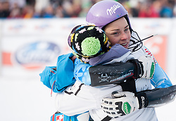"MAZE Tina (SLO) and physiotherapist Nezka Poljansek celebrate after winning the FIS Alpine Ski World Cup 7th Ladies' Slalom race named ""49th Golden Fox 2013"", on January 27, 2013 in Mariborsko Pohorje, Maribor, Slovenia. (Photo By Vid Ponikvar / Sportida.com)"