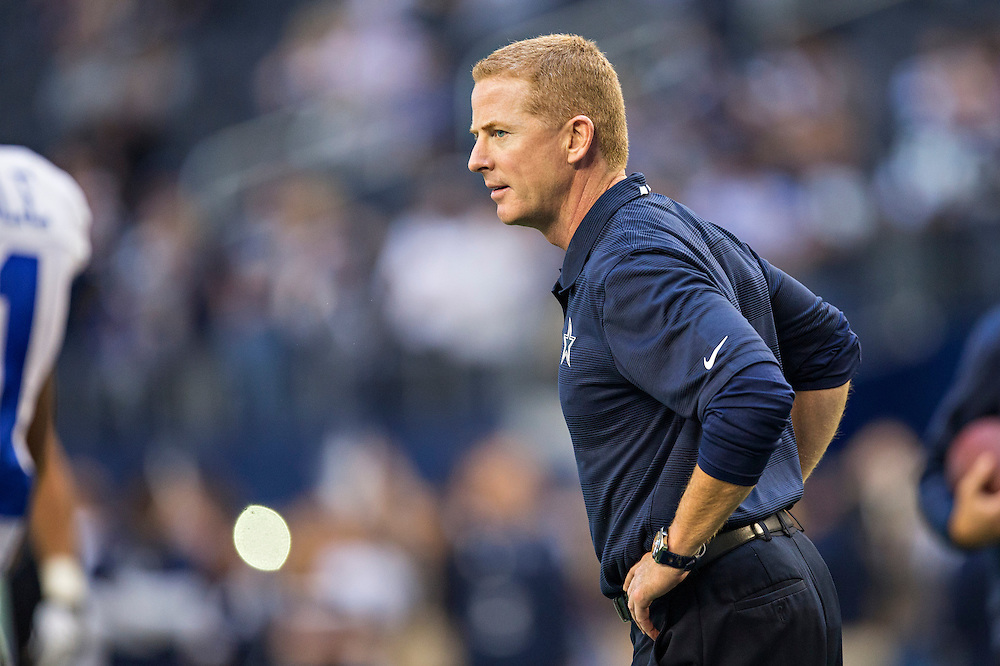 ARLINGTON, TX - NOVEMBER 3:  Head Coach Jason Garrett of the Dallas Cowboys watches his team warm up before a game against the Minnesota Vikings at AT&T Stadium on November 3, 2013 in Arlington, Texas.  The Cowboys defeated the Vikings 27-23.  (Photo by Wesley Hitt/Getty Images) *** Local Caption *** Jason Garrett