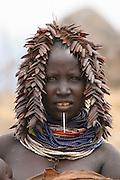 Africa, Ethiopia, Omo Valley, Daasanach tribe woman