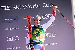 March 9, 2019 - Kranjska Gora, Kranjska Gora, Slovenia - Marco Odermatt of Switzerland on podium celebrating his third place at the Audi FIS Ski World Cup Vitranc on March 8, 2019 in Kranjska Gora, Slovenia. (Credit Image: © Rok Rakun/Pacific Press via ZUMA Wire)