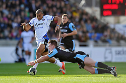 Jonathan Joseph of Bath Rugby and Stuart Hogg of Glasgow Warriors compete for the ball - Photo mandatory by-line: Patrick Khachfe/JMP - Mobile: 07966 386802 18/10/2014 - SPORT - RUGBY UNION - Glasgow - Scotstoun Stadium - Glasgow Warriors v Bath Rugby - European Rugby Champions Cup