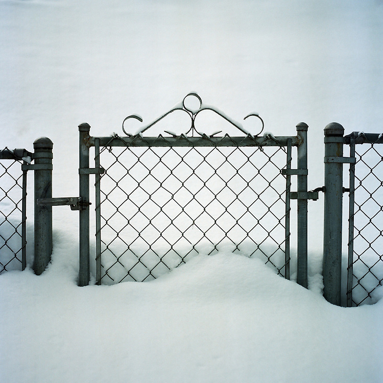 ANCHORAGE, ALASKA - 2012: Airport Heights fence.