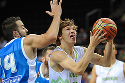 Ian-James Vougioukas of Greece vs Jaka Klobucar of Slovenia during friendly match between National Teams of Slovenia and Greece before World Championship Spain 2014 on August 17, 2014 in Kaunas, Lithuania. Photo by Robertas Dackus / Sportida.com