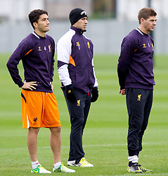 LIVERPOOL, ENGLAND - Wednesday, November 7, 2012: Liverpool's captain Steven Gerrard MBE, Nuri Sahin and Luis Alberto Suarez Diaz during a training session at the club's Melwood Training Ground ahead of the UEFA Europa League Group A match against FC Anji Makhachkala. (Pic by Vegard Grott/Propaganda)