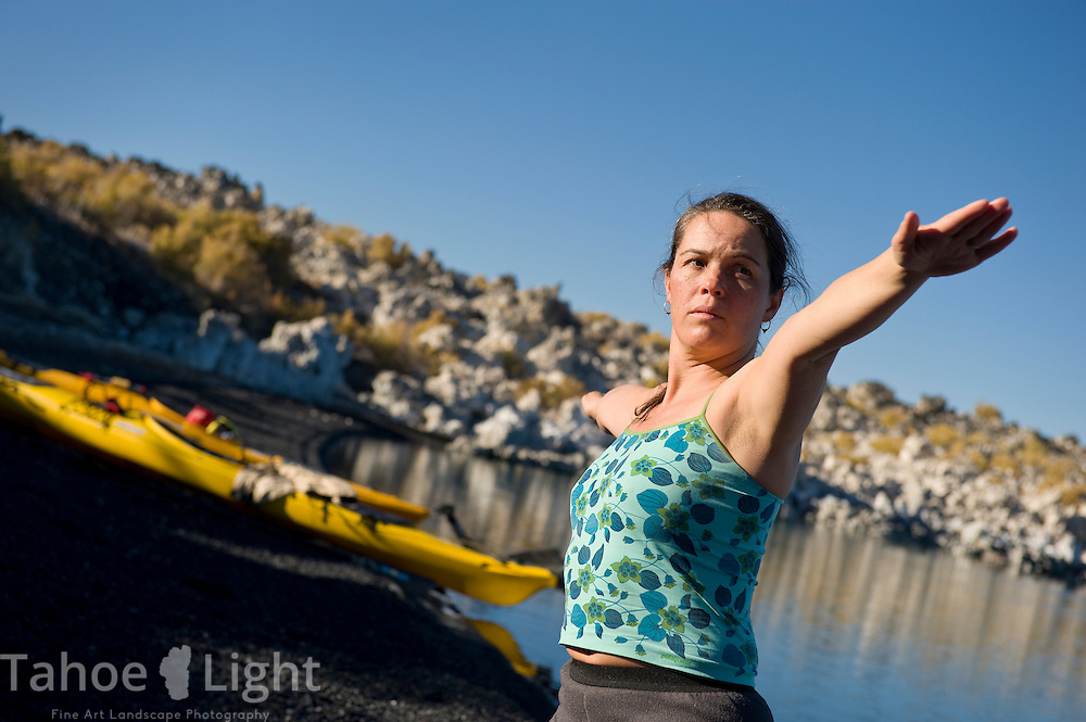Yoga on Paoha Island in Mono Lake, Lee Vining area, October, 2009