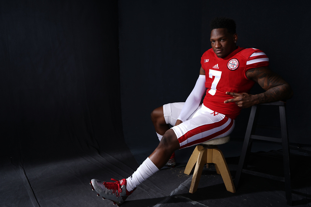 Mohamed Barry #7 during a portrait session at Memorial Stadium in Lincoln, Neb. on June 6, 2017. Photo by Paul Bellinger, Hail Varsity