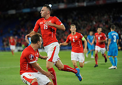 05.09.2015, St. Jakob Park, Basel, SUI, UEFA Euro 2016 Qualifikation, Schweiz vs Slowenien, Gruppe E, im Bild Josip Drmic (SUI) celebrates after scoring 3:2 // during the UEFA EURO 2016 qualifier group E match between Switzerland and Slovenia at the St. Jakob Park in Basel, Switzerland on 2015/09/05. EXPA Pictures © 2015, PhotoCredit: EXPA/ Freshfocus/ Steffen Schmidt<br /> <br /> *****ATTENTION - for AUT, SLO, CRO, SRB, BIH, MAZ only*****