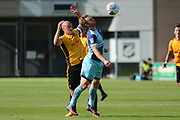 Wycombe Wanderers striker Craig Mackail-Smith (25) controls the ball ahead of Newport County defender David Pipe (2) 0-0 during the EFL Sky Bet League 2 match between Newport County and Wycombe Wanderers at Rodney Parade, Newport, Wales on 9 September 2017. Photo by Alan Franklin.