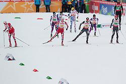 24.02.2013, Langlaufstadion, Lago di Tesero, ITA, FIS Weltmeisterschaften Ski Nordisch, Nordische Kombination, Langlauf Team, im Bild Haavard Klemetsen (NOR) // Haavard Klemetsen of Norway and Bryan Fletcher (USA) // Bryan Fletcher of United States and Magnus Krog (NOR) // Magnus Krog of Norway and Todd Lodwick (USA) // Todd Lodwick of United States during the Mens Nordic Combined Team Race of the FIS Nordic Ski World Championships 2013 at the Cross Country Stadium, Lago di Tesero, Italy on 2013/02/24. EXPA Pictures ©  2013, PhotoCredit: EXPA/ Federico Modica
