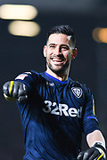 Francisco Casilla of Leeds United (33) celebrates Patrick Bamford of Leeds United (9) scoring a goal to make the score 3-0 during the EFL Sky Bet Championship match between Leeds United and West Bromwich Albion at Elland Road, Leeds, England on 1 March 2019.