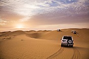 Desert Safari in the desert of the United Arab Emirates. This is a popular activity for tourists in both Abu Dhabi and Dubai