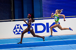 BIRMINGHAM, ENGLAND - MARCH 02: Shakira Wimbley of USA and Anita Horvat of Slovenia compete during round 1 of the Women's 400m at the IAAF World Indoor Championships at Arena Birmingham on March 2, 2018 in Birmingham, England. Photo by Ronald Hoogendoorn / Sportida
