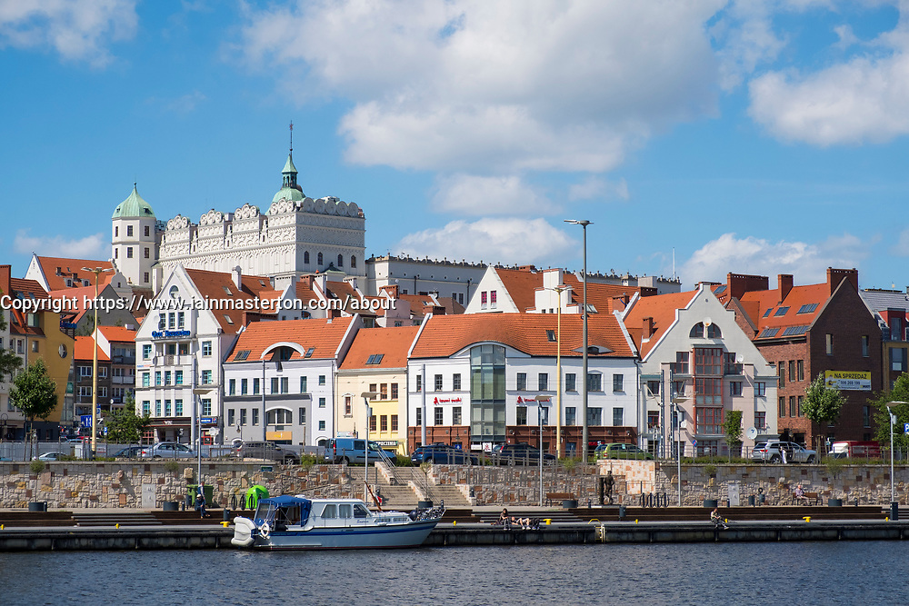 Skyline of Old Town of Szczecin in Pomerania , Poland