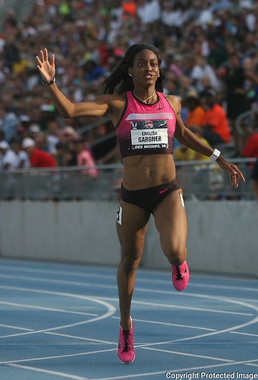 GARDNER - 13USA, Des Moines, Ia.- English Gardner won her quarterfinal heat of the 100.  Photo by David Peterson