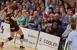 09-04-2016 NED: Coolen Alterno - Springendal Set Up 65, Apeldoorn<br /> Set Up wint met 3-2 en dat blijkt genoeg om zich te plaatsen voor de finale. / Publiek, support zien de bal in het publiek verdwijnen