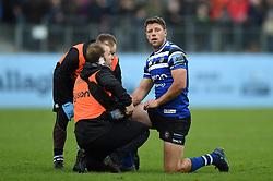 Rhys Priestland of Bath Rugby is treated for an injury - Mandatory byline: Patrick Khachfe/JMP - 07966 386802 - 09/11/2019 - RUGBY UNION - The Recreation Ground - Bath, England - Bath Rugby v Northampton Saints - Gallagher Premiership
