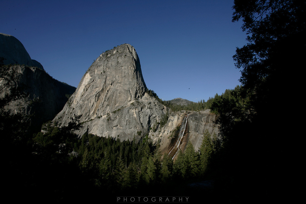 Nevada Falls, Liberty Cap (7076 ft) and Mount Broderick (6706 ft)..