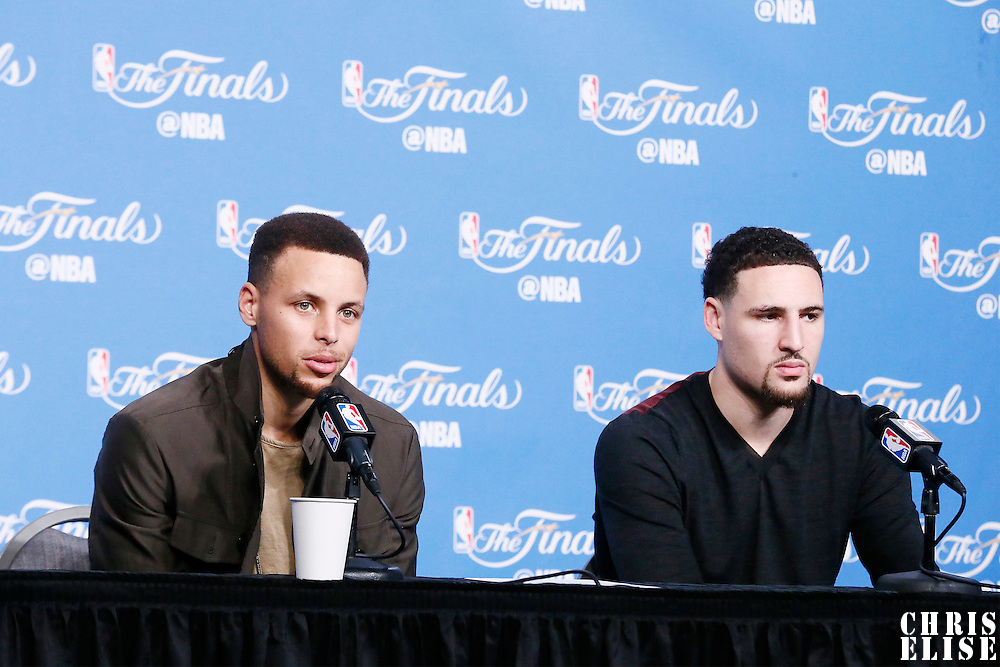08 June 2016: Golden State Warriors guard Stephen Curry (30) and Golden State Warriors guard Klay Thompson (11) are seen during the press conference following the Cleveland Cavaliers 120-90 victory over the Golden State Warriors, during Game Three of the 2016 NBA Finals at the Quicken Loans Arena, Cleveland, Ohio, USA.