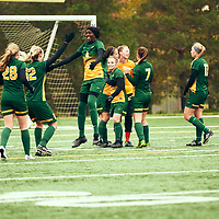 1st year defender, Amou Madol (4) of the Regina Cougars during the Women's Soccer home game on Sun Sep 23 at U of R Field. Credit: Arthur Ward/Arthur Images
