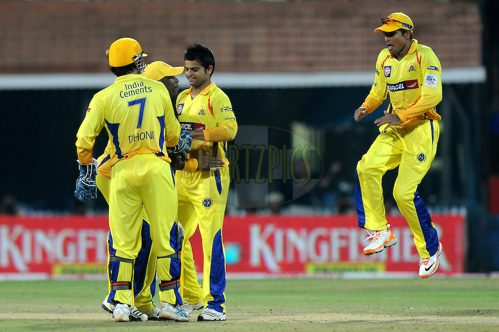 Suresh Raina of Chennai Super Kings celebrates a wicket during match 3 of the NOKIA Champions League T20 ( CLT20 )between the Chennai Superkings and the Mumbai Indians held at the M. A. Chidambaram Stadium in Chennai , Tamil Nadu, India on the 24th September 2011..Photo by Pal Pillai/BCCI/SPORTZPICS