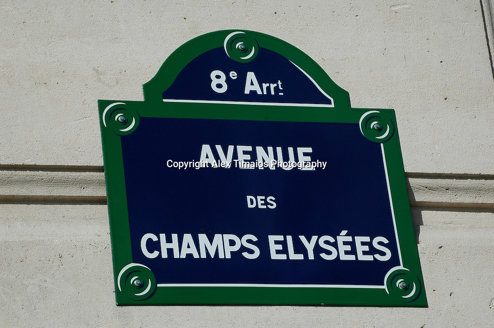 sign of the champs elysees in Paris, France