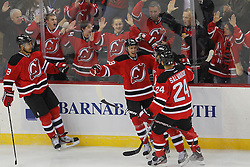 Jan 22, 2013; Newark, NJ, USA; New Jersey Devils center Travis Zajac (19) celebrates his goal against Philadelphia Flyers goalie Ilya Bryzgalov (30) during the first period at the Prudential Center.