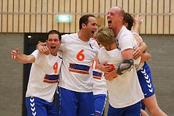 06-10-2012 VOLLEYBAL: 1STE DIVISIE KING SOFTWARE VCN - PARTICOLARE : CAPELLE AAN DEN IJSSEL<br /> Particolare wint met 3-2 van King Software VCN en de spelers vieren de overwinning uitbundig. (L-R) Jeroen Vercruijsse, John van Kuijk, Sjuul Zeekaf, Ton Scheij<br /> ©2012-FotoHoogendoorn.nl / Pim Waslander